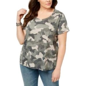 Style&Co Plus Size Camouflage Short Sleeve Blouse